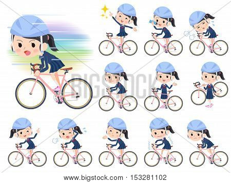 School Girl Sailor Suit Ride On Rode Bicycle
