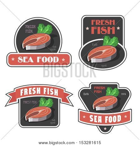 Seafood shop signs and fresh fish store label or logo illustration. Salmon or trout