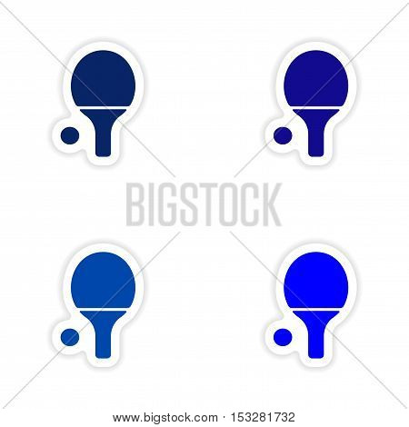 assembly realistic sticker design on paper table tennis
