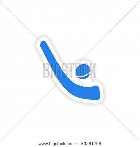 icon sticker realistic design on paper hockey