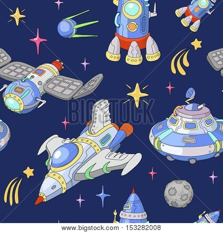 Seamless funny cartoon cosmic space pattern. Planets, rockets and stars. Cartoon Spaceship and UFO