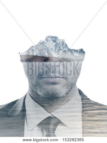 Portrait of handsome young man on abstract waterfront landscape background. Double exposure