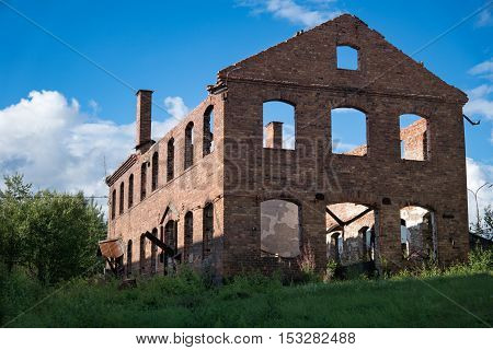 Old industry brick building that have been ravaged by fire