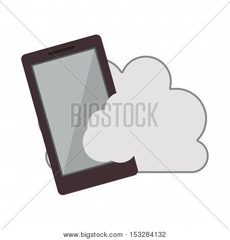 white cloud shape with smartphone device icon. isolated design. vector illustration