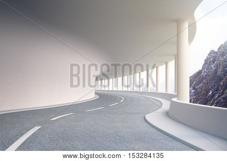 Modern road tunnel with landscape view and daylight. 3D Rendering