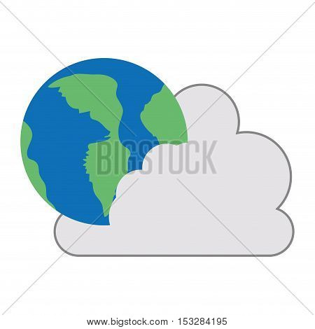 white cloud shape with earth planet icon. isolated design. vector illustration