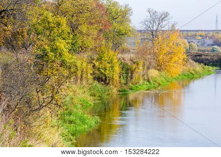 Fall River, Indian Summer, The Beautiful Trees, The Cold Water. Yellow Red Golden Color Of Autumn Le