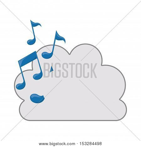 white cloud shape with musical notes icon. isolated design. vector illustration
