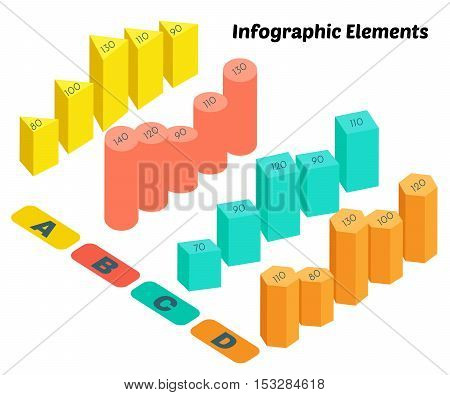 Isometric Vector Infographic Elements. Business Block Chart on White Background. Basic 3D Shapes.