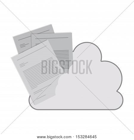 white cloud shape with document paper page icon. isolated design. vector illustration