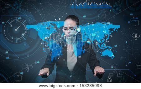 Woman pressing virtual buttons in futuristic concept