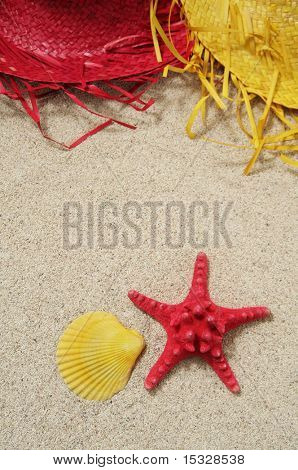 Straw hats, shell and starfish on the sand