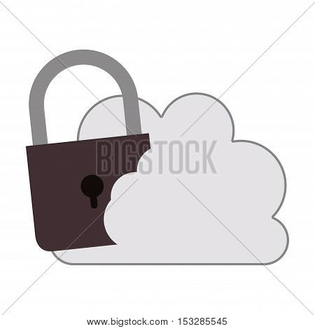 white cloud shape with padlock icon. isolated design. vector illustration
