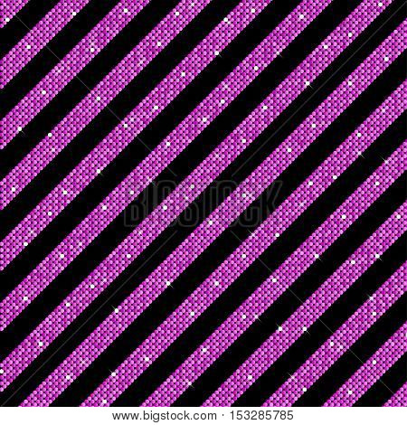 The parallel Diagonal lines on the black background. Background made of Pink sequins. Mosaic sequins glitter sparkle stars. Parallel.