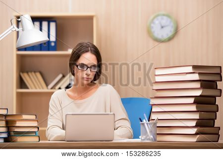 Young student preparing for university exams