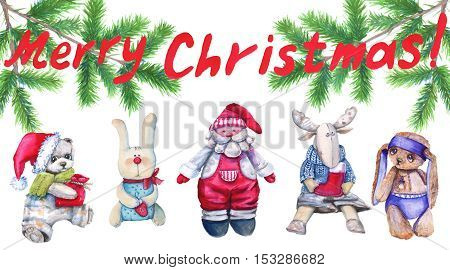 Christmas card. Children's soft toys under the tree. Watercolor illustration.