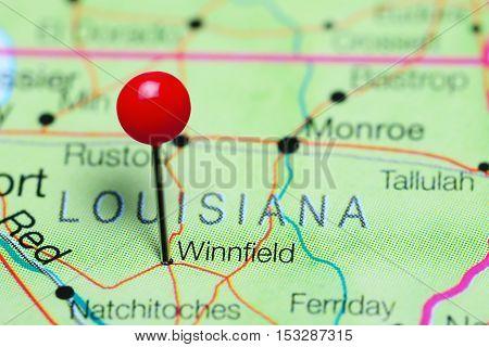 Winnfield pinned on a map of Louisiana, USA