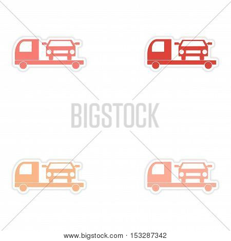 assembly realistic sticker design on paper tow truck car