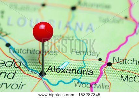 Alexandria pinned on a map of Louisiana, USA