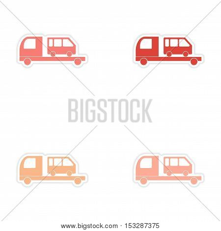 assembly realistic sticker design on paper car bus transportation