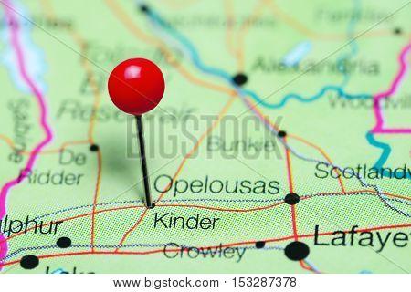 Kinder pinned on a map of Louisiana, USA