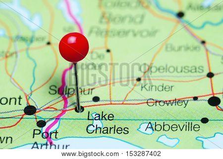 Lake Charles pinned on a map of Louisiana, USA