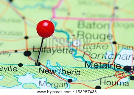 New Iberia pinned on a map of Louisiana, USA