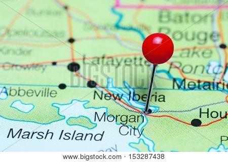 Morgan City pinned on a map of Louisiana, USA