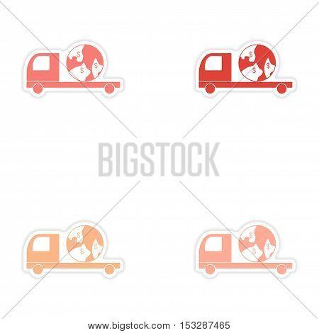 assembly realistic sticker design on paper International truck transportation