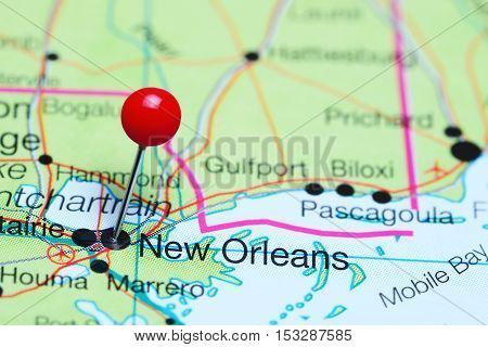 New Orleans pinned on a map of Louisiana, USA
