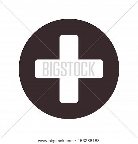 plus icon over circle shape and white background. vector illustration