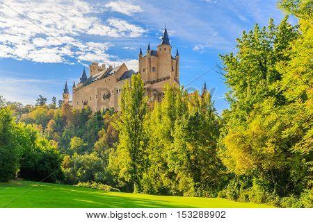 Segovia, Spain. The Alcazar of Segovia early morning. Castilla y Leon.