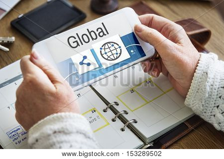 Share Global Icons Network Concept