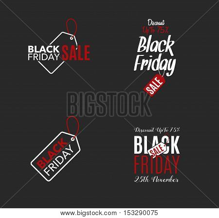 Black Friday sale design template. Creative banner label. Vector illustration, marketing price tag, discount, advertising. Abstract vector illustration for shopping. Set.