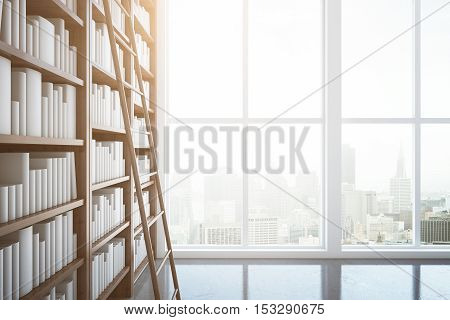 Library interior with wooden bookshelves ladder window with city view and daylight. 3D Rendering