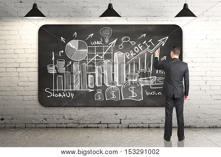 Businessman drawing business sketch on chalkboard in white brick room. Success concept. 3D Rendering