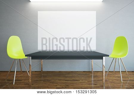 Front view of blank billboard table and two bright chairs in interior with wooden floor concrete walls and ceiling light. Mock up 3D Rendering