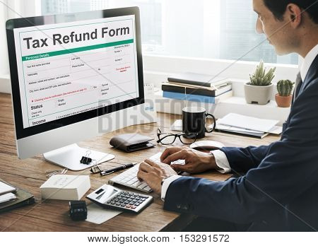 Income Tax Return Deduction Refund Concept