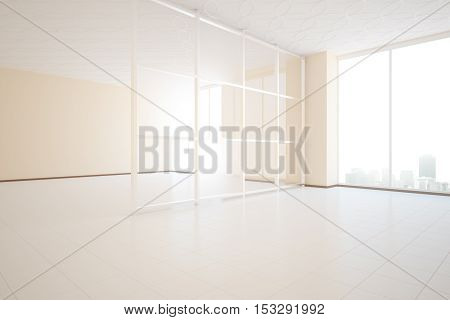 Bright unfurnished beige room design with glass partition and window with city view. Side view 3D Rendering
