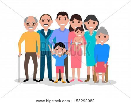 Vector illustration of a cartoon dear happy family. Drawing, image isolated on white background. Big lovely family portrait. Flat style. Picture grandfather, grandmother, parents with their children.