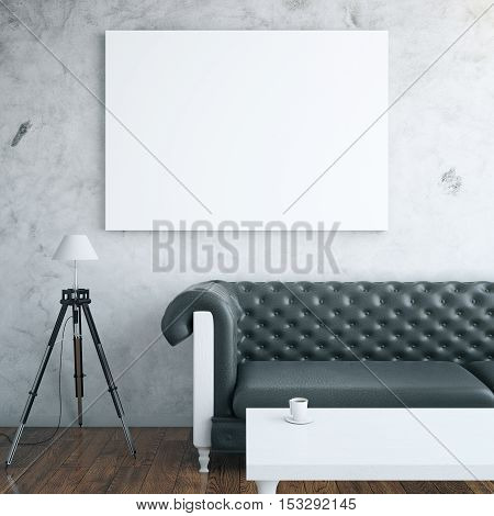 Front view of interior with blank billboard leather couch floor lamp and white coffee table. Mock up 3D Rendering