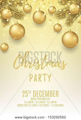 Merry Christmas party flyer. Elegant vector illustration with glass toys and gold confetti. Beautiful background with golden balls and shining lights. Design of invitation to night club.