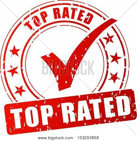 Illustration of top rated red stamp on white background