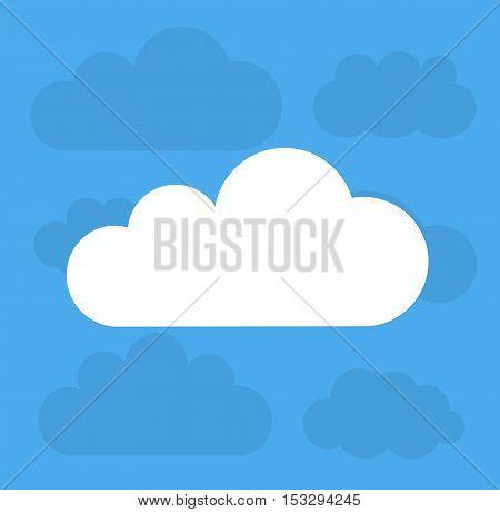 Clouds on blue sky. Flat design illustration
