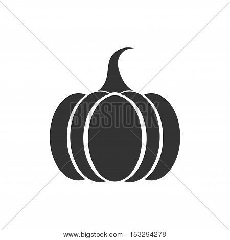 Pumpkin black icon or symbol. Flat design illustration
