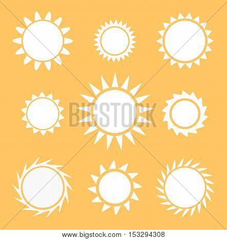 Sun white icons flat design collection illustration