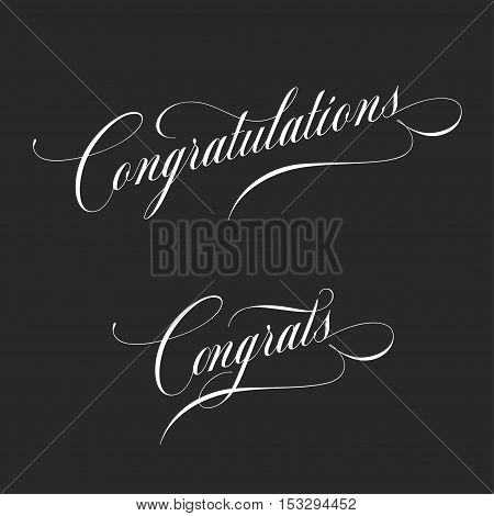 Congratulations. Retro style lettering illustration. Calligraphic greeting inscription. Vector vintage typography. Trendy design element for greeting cards, prints and posters.