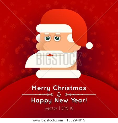 Greeting card. Santa Claus with Stylish beard on snowy layers. Christmas and New Year vector illustration on red background of snowflakes.