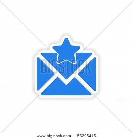 icon sticker realistic design on paper email