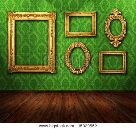 Beautiful interior, vintage wallpaper, wooden floor, gold ornate frames, similar available